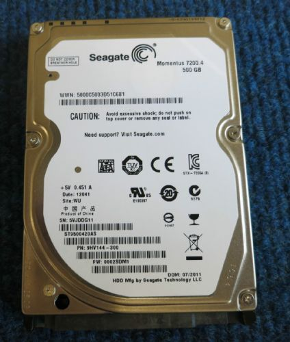 "Seagate ST9500420AS 9HV144-300 Momentus 500GB 7200.4 2.5"" 7200 RPM 16MB HDD"